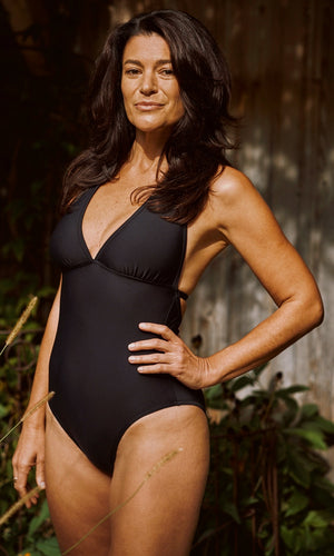 BLACK Halter One-Piece