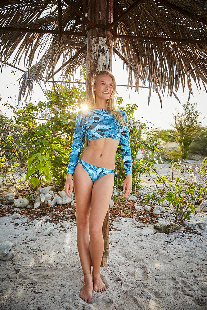 blue shark pattern surfer bikini made in Canada by Bathing Belle Swimwear