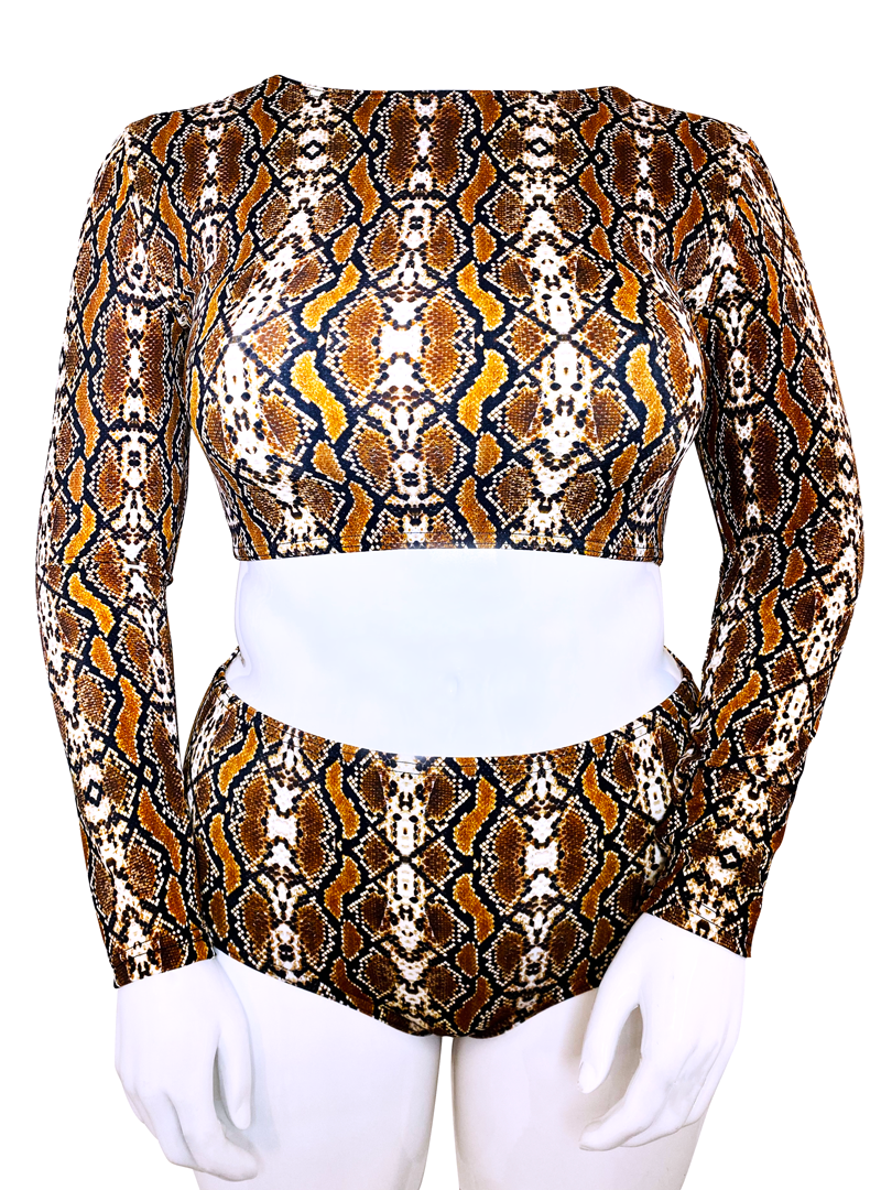 SNAKESKIN LONG SLEEVE CROP TOP