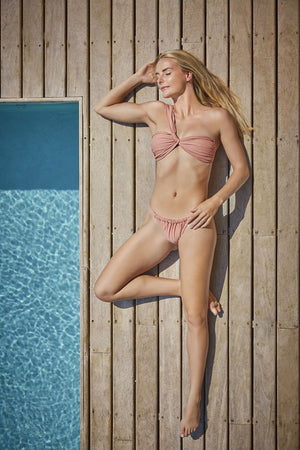 light pink, Greek style bikini for slim athletic body types made in Canada by Bathing Belle Swimwear