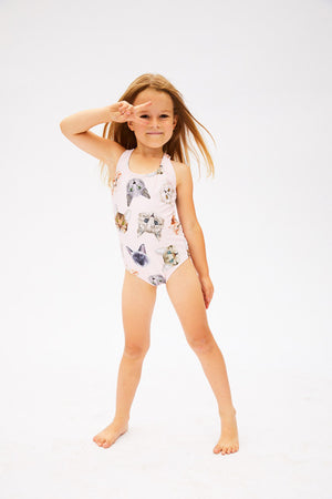 cat pattern one-piece swimsuit for girls made in Canada by Bathing Belle