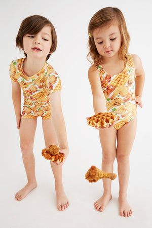 chicken and waffles pattern swimsuits for kids, made in Canada by Bathing Belle Swimwear
