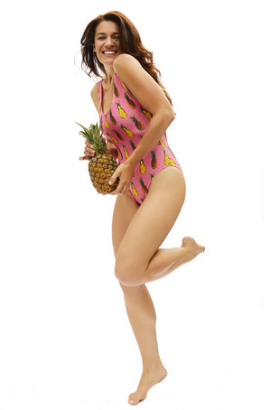 coral pineapple pattern one piece swimsuit made in Canada by Bathing Belle Swimwear