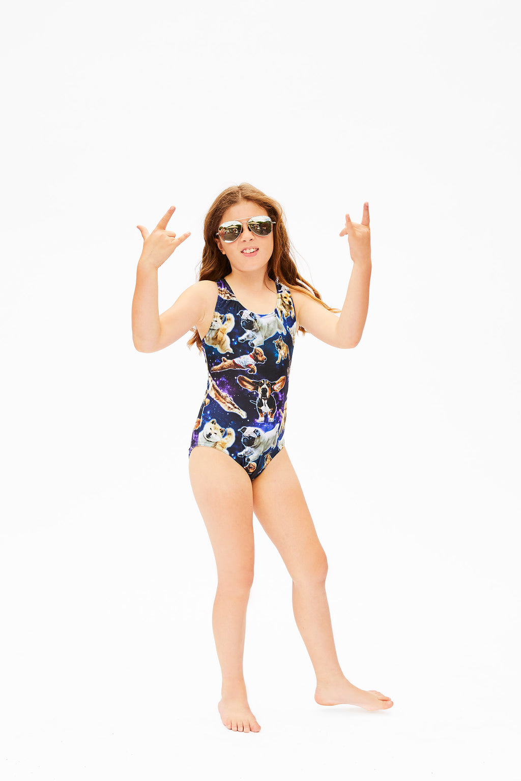 dog pattern one piece swimsuit for girls made in Canada by Bathing Belle Swimwear