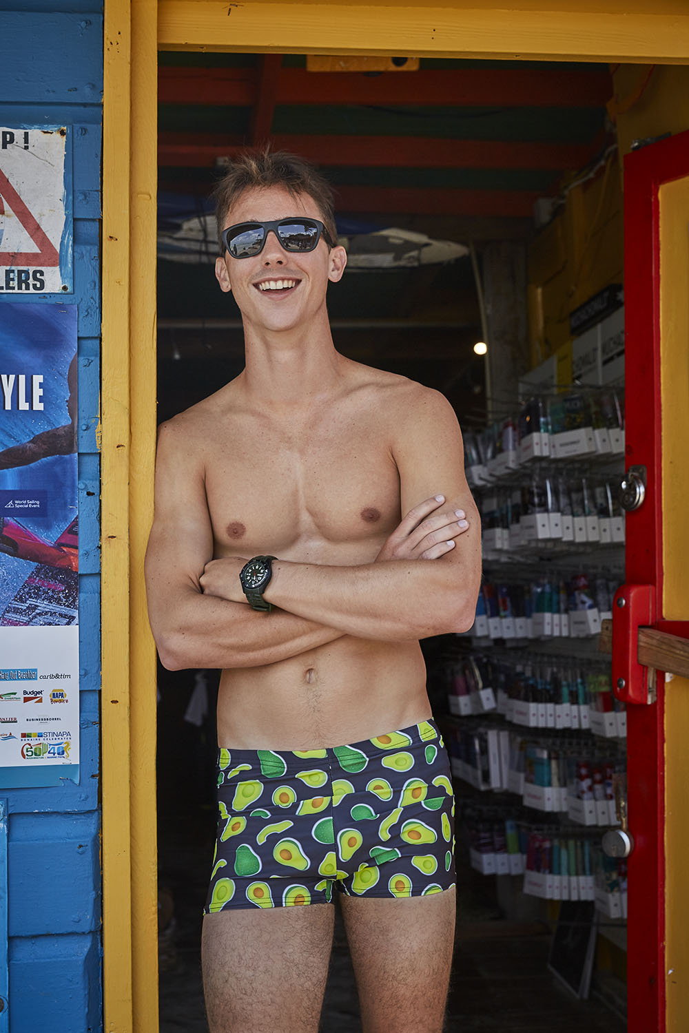 avocado pattern swim trunks for men made in Canada by Bathing Belle Swimwear