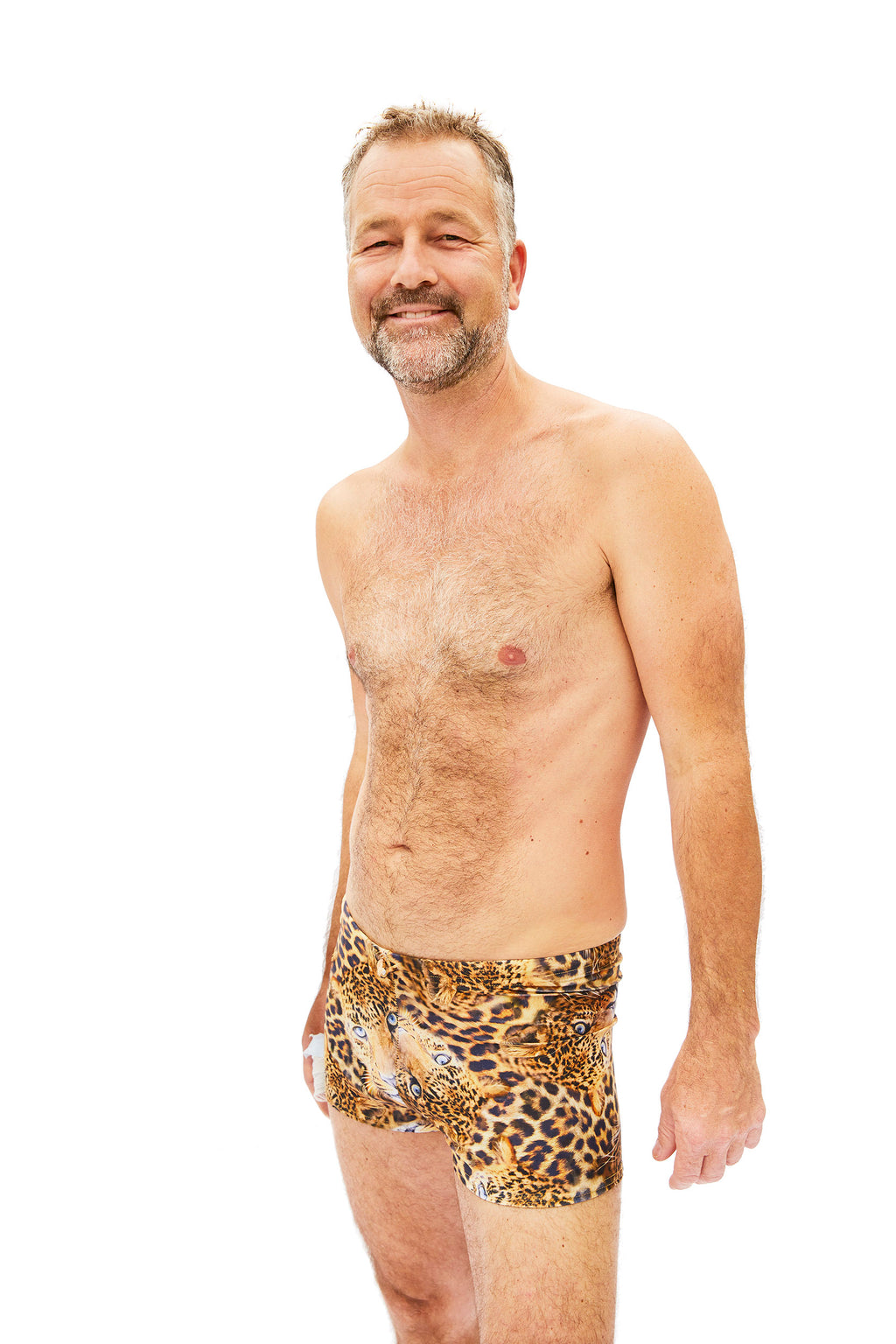 animal print mens swim trunks made in Canada by Bathing Belle