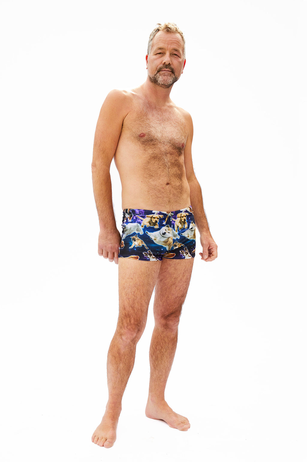 dog pattern swim trunks for men for all body types made in Canada by Bathing Belle Swimwear