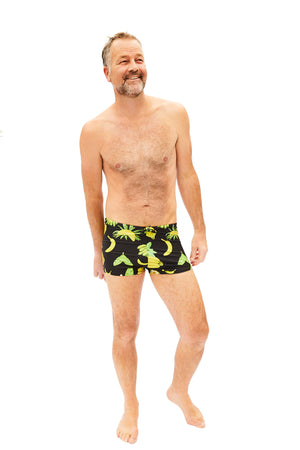 black and yellow banana pattern mens swim trunks made in Canada by Bathing Belle Swimwear