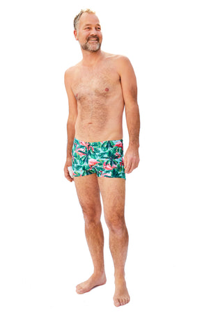 aqua and pink flamingo pattern mens swim trunks made in Canada by Bathing Belle Swimwear