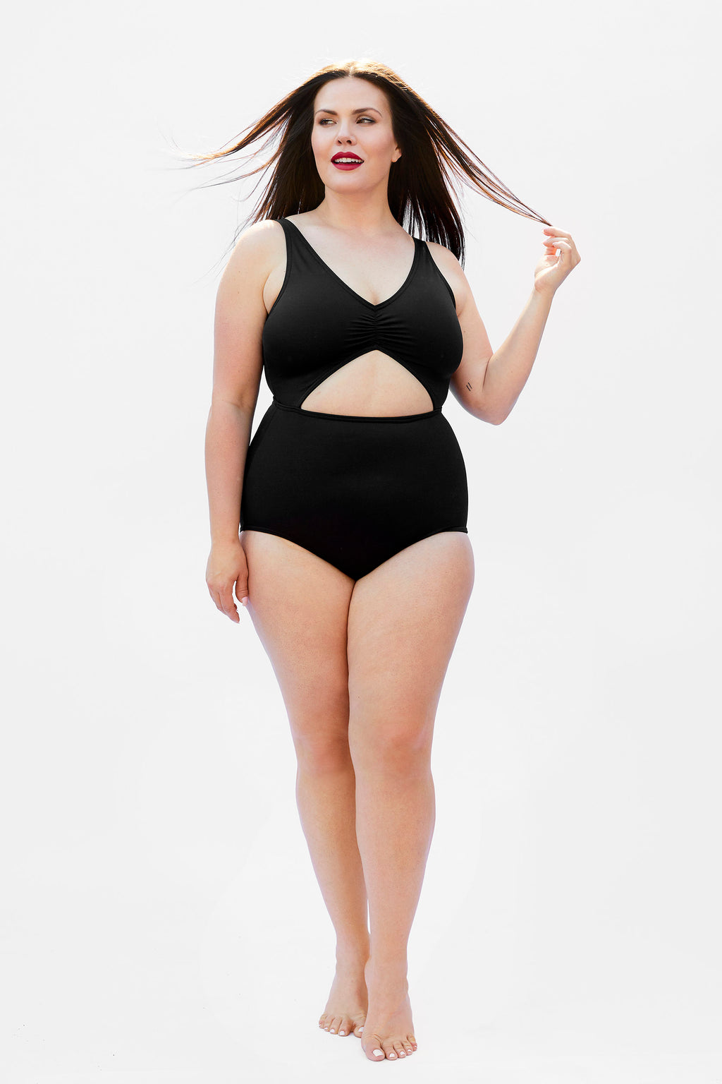 black swimsuit for plus size women made in Canada by Bathing Belle Swimwear