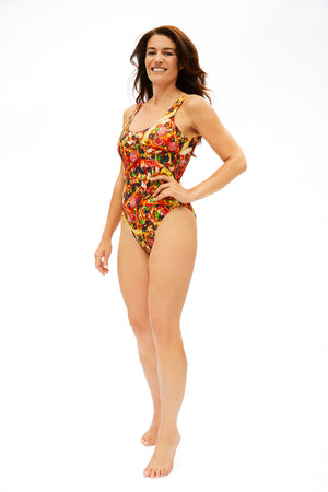 pizza pattern one piece swimsuit for all body types made in Canada by Bathing Belle Swimwear