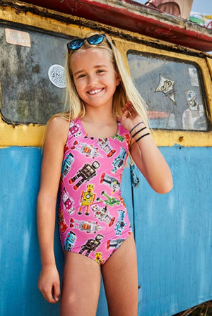pink robot print one-piece swimsuit for girls made in Canada by Bathing Belle