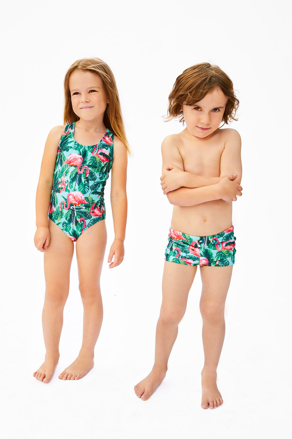 aqua and pink flamingo print swimsuits for kids, made in Canada by Bathing Belle Swimwear