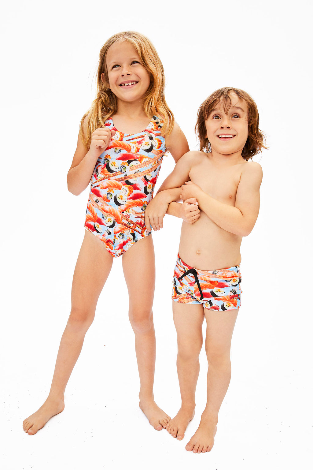 sushi print swimsuits for kids, made in Canada by Bathing Belle Swimwear