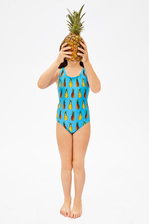 blue pineapple print swimsuit for girls, made in Canada by Bathing Belle Swimwear