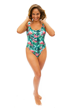 aqua and pink flamingo pattern one piece swimsuit for all body types made in Canada by Bathing Belle Swimwear