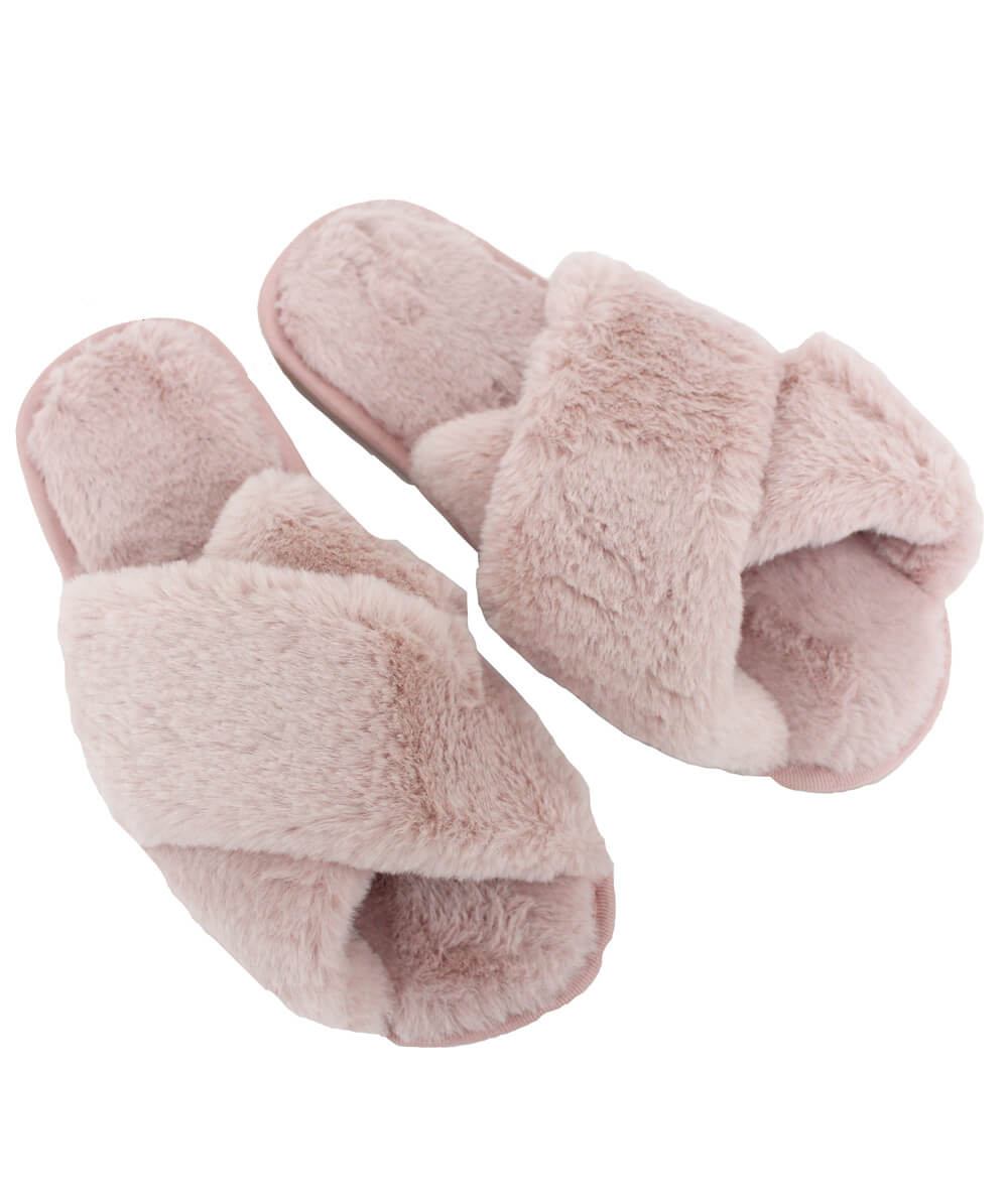 PINK FAUX FUR FUZZY SLIPPERS