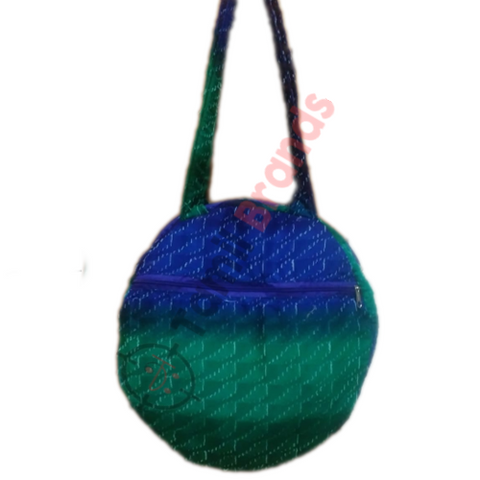Oval Shape Cotton hand bag (Green and blue)