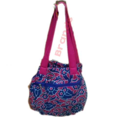 Fancy Cotton hand bag (Pink and blue)