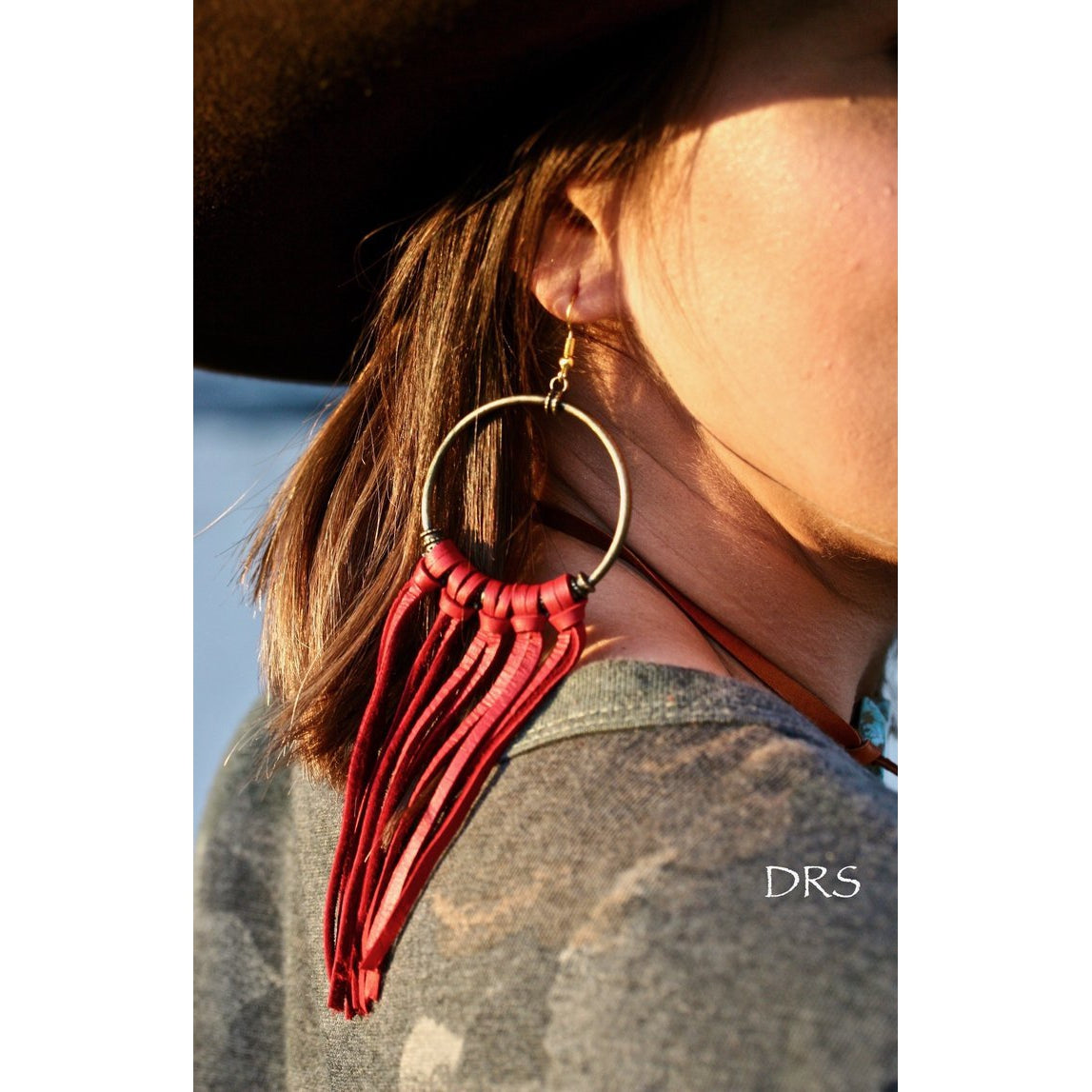 Leather Hoop Earrings - Sandy Bums Boutique