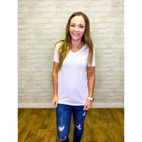 Basic V Neck T-shirt - Sandy Bums Boutique