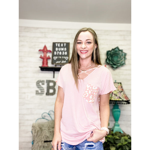 Arial Pink | Short Sleeve Top - Sandy Bums Boutique