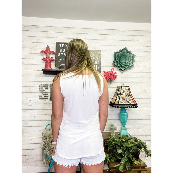 Selina | White Tank Top - Sandy Bums Boutique