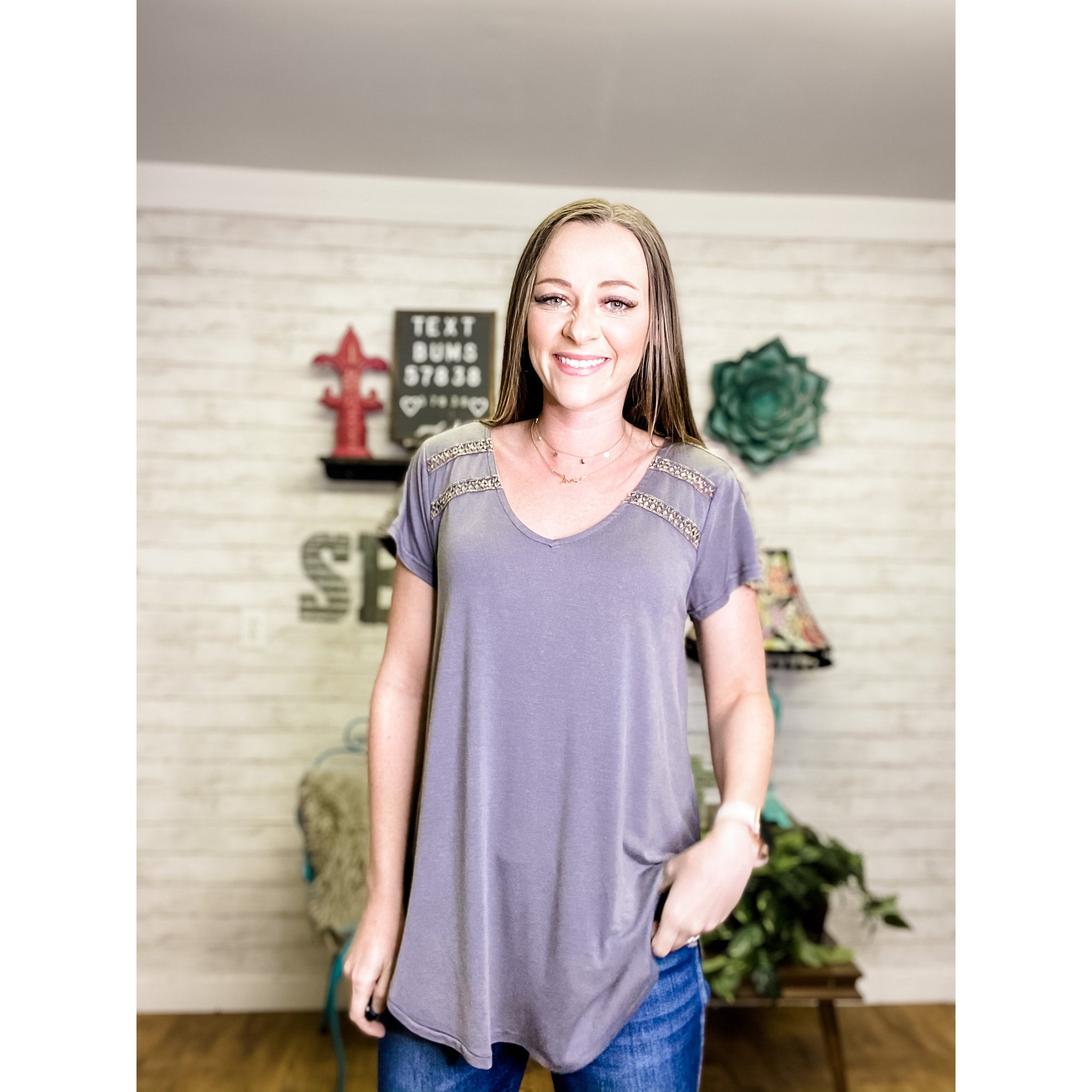 Carrie | V Neck Shirt - Sandy Bums Boutique