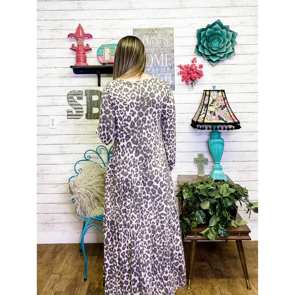 Leopard Dress | Long Sleeve Dress - Sandy Bums Boutique