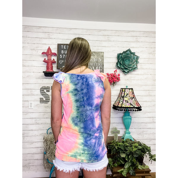 Ruffled Up | Tie Dye Top - Sandy Bums Boutique