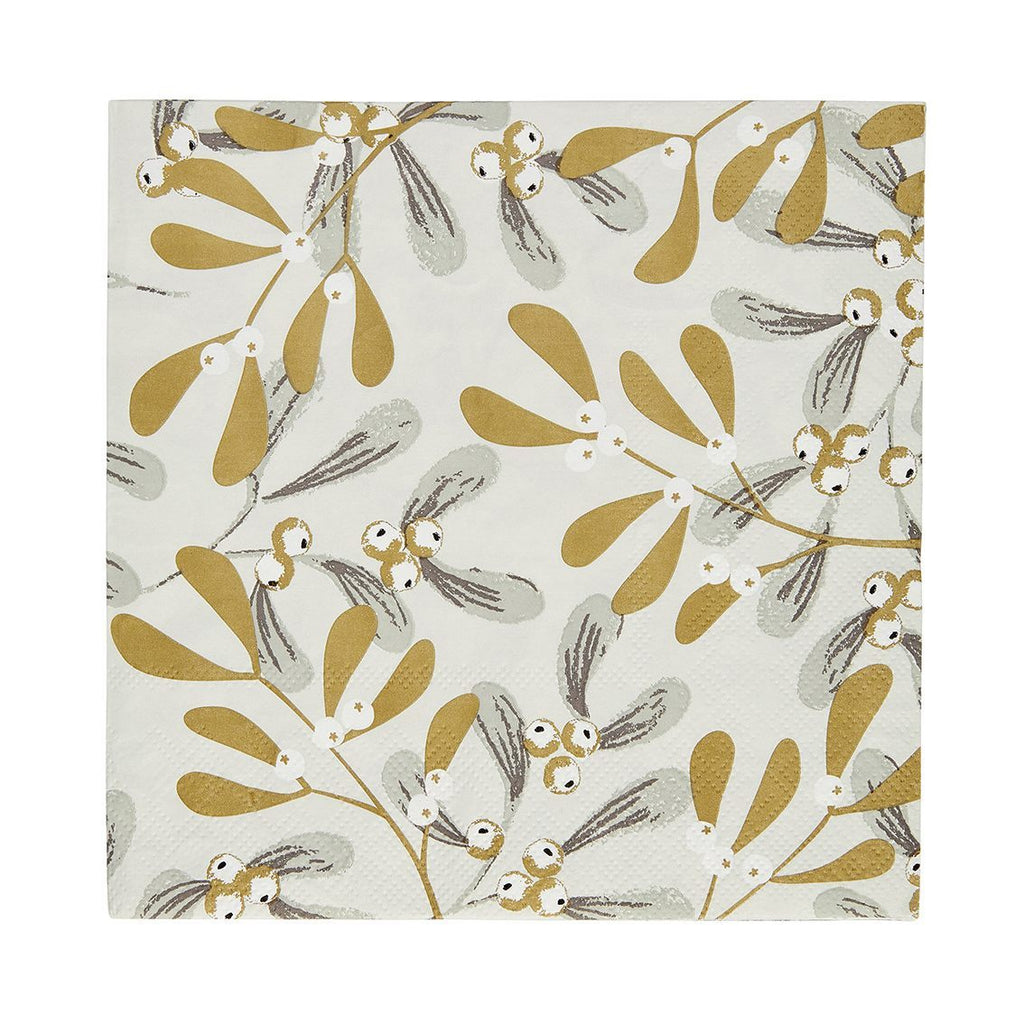 Botanical Mistletoe Foiled Napkin