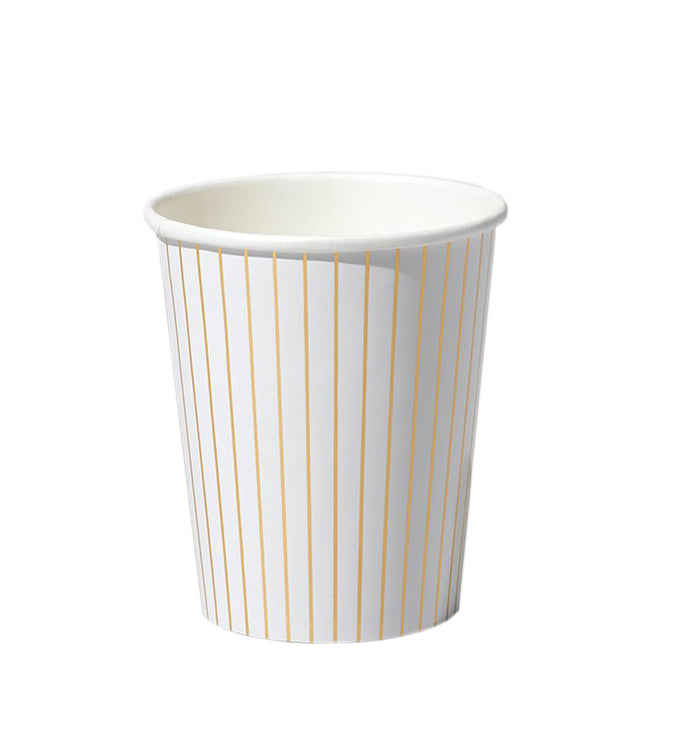 Gold & White Pinstripe Cups