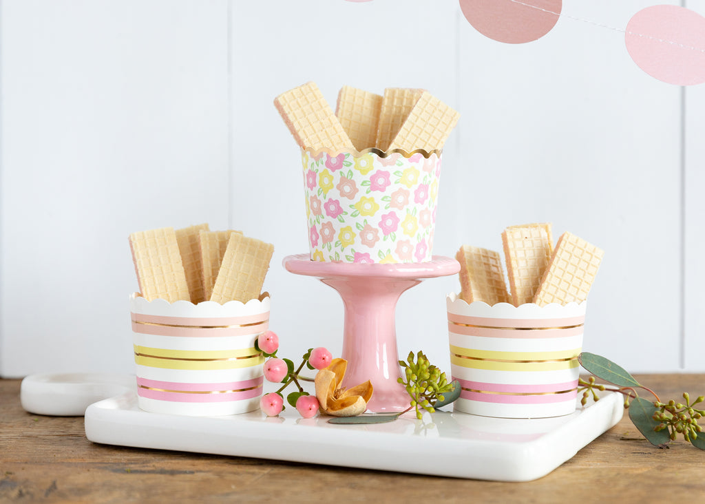 Pastel Floral & Stripes Treat Cups