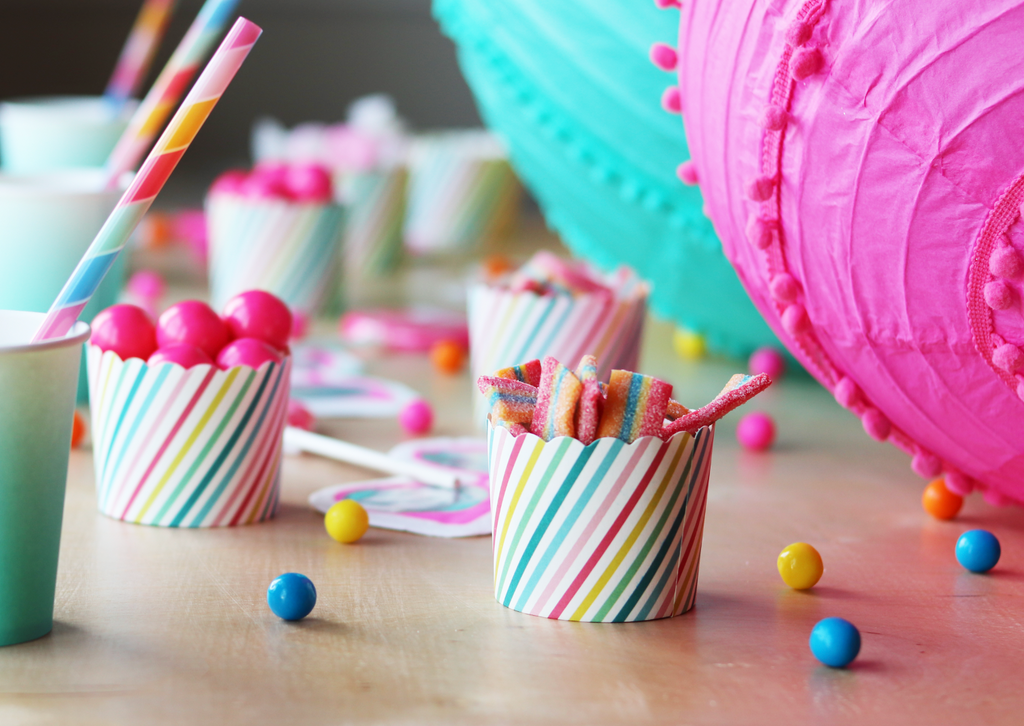 Rainbow Striped Treat Cups