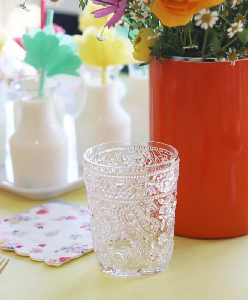 Clear Floral Pattern Tumbler