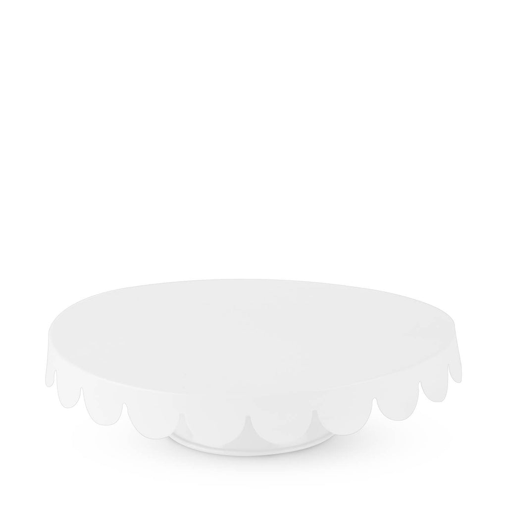 White Scallop Metal Cake Stand