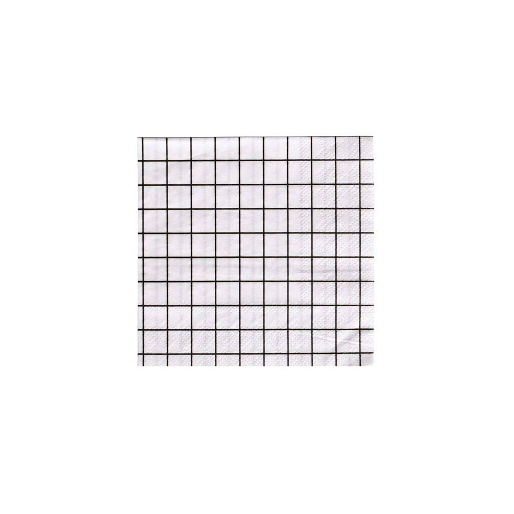 Black & White Grid Napkins