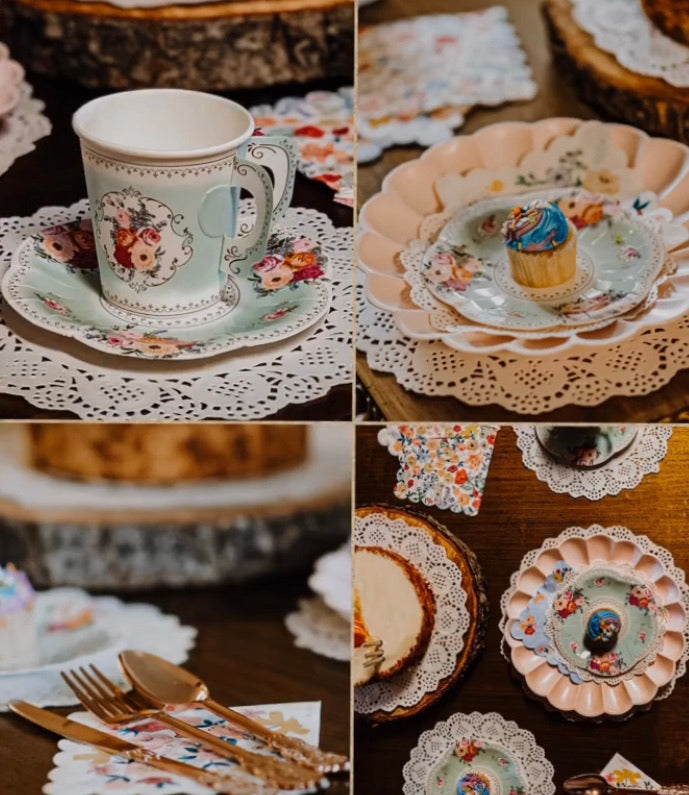 Floral Tea and Saucer Cups Set