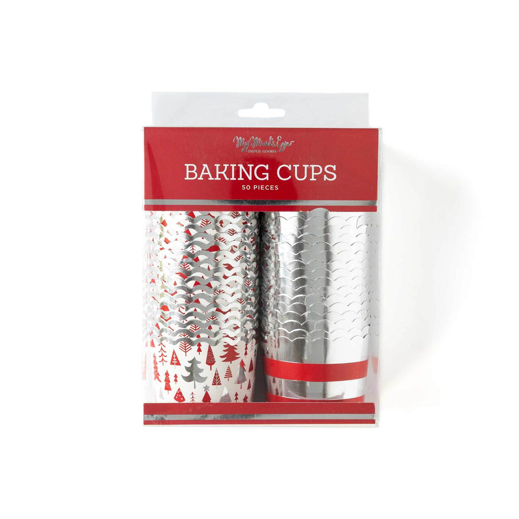 Silver Trees & Stripes Treat Cups