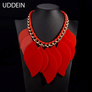 Red resin geometric statement necklace & pendant