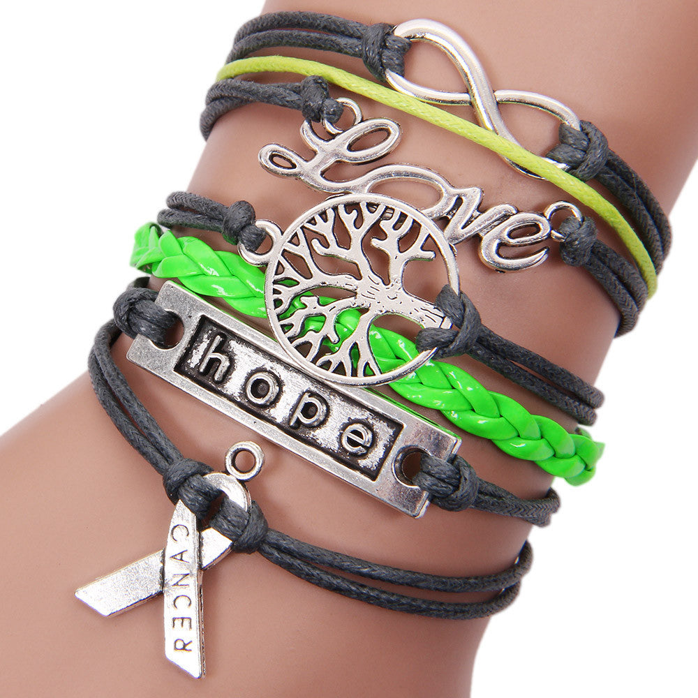 Lnfinity Love Charm Braided Leather Awareness Ribbon Bracelet