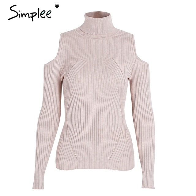 Cold-shoulder pullover  turtleneck sweater