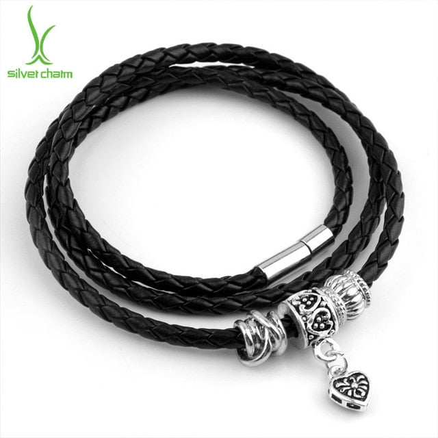 Silver Charm Black Leather Bracelet for Women Magnet Clasp