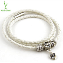 Load image into Gallery viewer, Silver Charm Black Leather Bracelet for Women Magnet Clasp