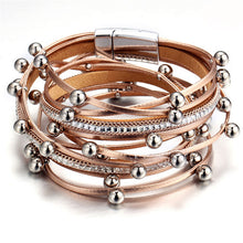 Load image into Gallery viewer, Bichy 3 color Intersex Layered Vintage Leather Charm Bracelet