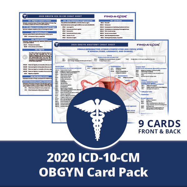 Obstetrics & Gynecology CPT HCPCS & ICD10CM Card Pack for 2020