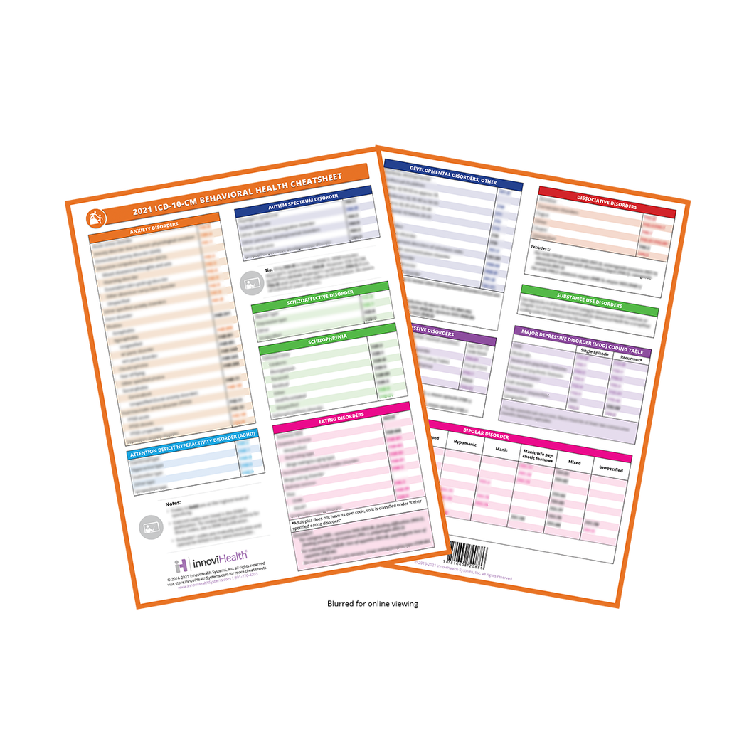 Behavioral Health ICD-10-CM Cheat Sheet for 2021