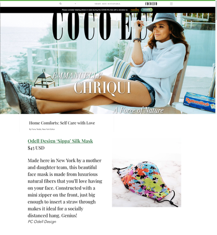 "Odell ""Sippa"" face mask featured in Coco Eco Magazine"