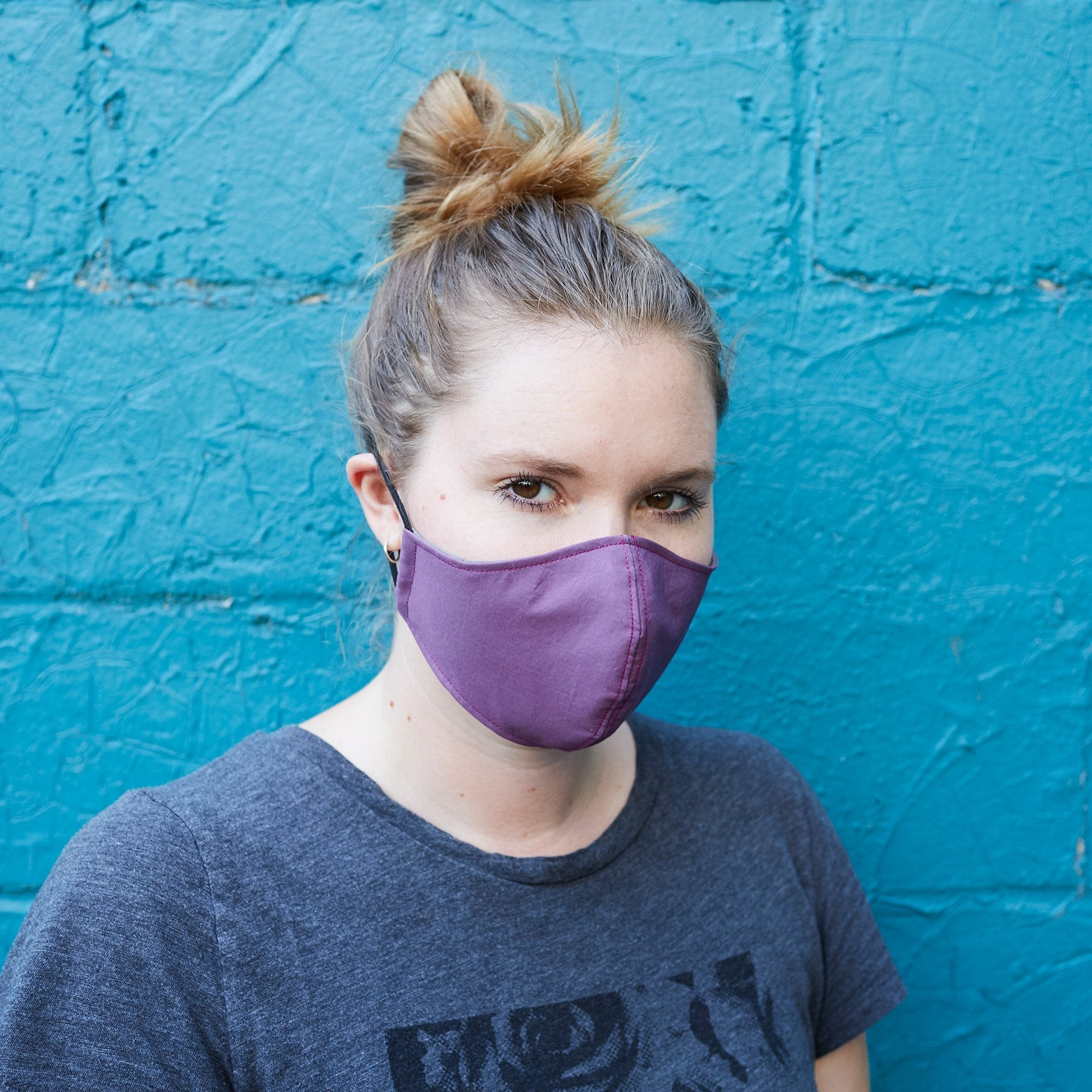 Cotton Cloth Face Mask - Mauve/Purple