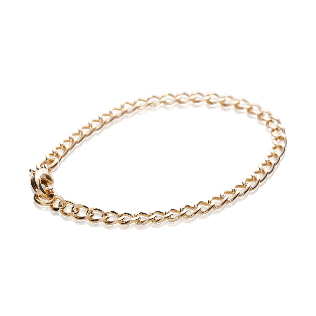 14K Gold Fine Flat Cable Chain Bracelet - Odell Design Studio